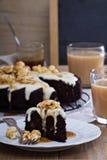Chocolate cake with cream glaze and caramel Stock Images