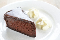 Chocolate cake and cream Stock Image