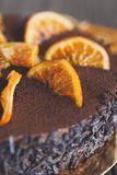 Chocolate cake with cream and profiterole. Closeup of chocolate cake with cream and profiterole, decorated with candied oranges. Traditional creamy dessert Royalty Free Stock Photography