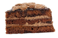 Chocolate cake with cream sliced Stock Images