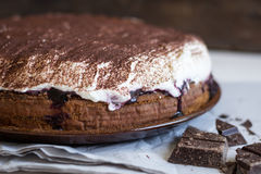 Chocolate Cake with Cream Stock Photography