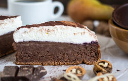 Chocolate Cake with Cream Stock Photo