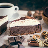 Chocolate Cake with Cream Stock Image