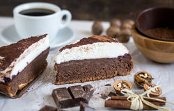 Chocolate Cake with Cream Royalty Free Stock Photography