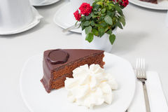 Chocolate cake with cream Royalty Free Stock Photo