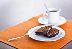 Chocolate cake and cup Stock Image