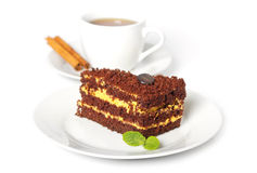 Chocolate cake with a cup of coffee Stock Photo