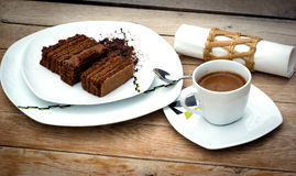 Chocolate cake and cup of coffee Stock Images