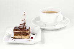 Chocolate Cake and cup of coffee royalty free stock image