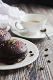 Chocolate cake and a cup of coffee Stock Photos