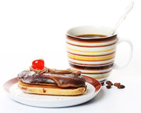 Chocolate cake with a cup of coffee Stock Photos
