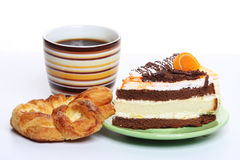 Chocolate cake with a cup of coffee Stock Images
