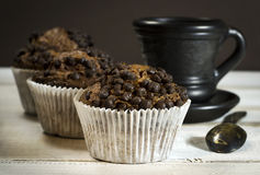 Chocolate cake, a cup of coffee with milk. Royalty Free Stock Photo