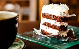 Chocolate cake with a cup of coffee Stock Photography