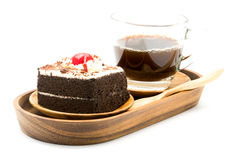 Chocolate cake and a cup of coffee Royalty Free Stock Photo