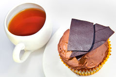 Chocolate cake and cup of tea Stock Photo