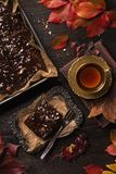 Chocolate cake and a cup of tea. On a wooden background royalty free stock photo
