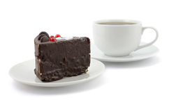 Chocolate cake and cup of tea stock photos