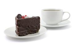 Chocolate cake and cup of tea Stock Photos