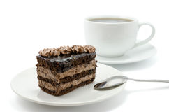 Chocolate cake and cup of tea Royalty Free Stock Photography