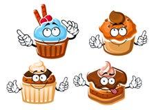 Chocolate cake, cupcake and caramel muffins Stock Photo