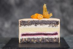 Chocolate cake on a dark background adorned with citrus. The confectioner`s hand holds a piece of cake on the patisserie Royalty Free Stock Image