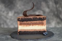Chocolate cake on a dark background. Adorned with black chocolate Royalty Free Stock Images