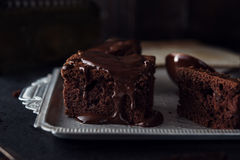 Chocolate cake on dark background Royalty Free Stock Image