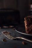 Chocolate cake on dark background Stock Photos
