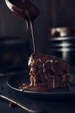 Chocolate cake on dark background Stock Images