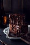 Chocolate cake on dark background Royalty Free Stock Photography