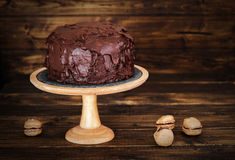 Chocolate cake on dark wooden bckground Stock Images