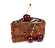 Chocolate cake decorated with cherries Royalty Free Stock Photography