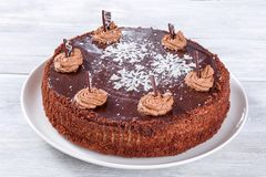 Chocolate cake decorated with chocolate chips and icing-sugar snowflake, close-up Royalty Free Stock Images