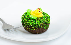 Chocolate cake decorated with duck Stock Photography