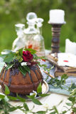 Chocolate cake decorated with flowers Royalty Free Stock Images