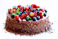 Chocolate cake, decorated with fruits Royalty Free Stock Images