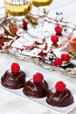 Chocolate cake decorated with raspberries in white plate. With glasses of white wine on vintage tray Stock Photography