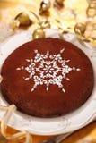 Chocolate cake decorated with snowflake stock photo