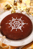 Chocolate Cake Decorated With Snowflake Stock Photo