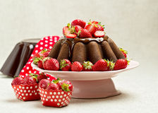 Chocolate cake. Decorating with chocolate icing and strawberries Stock Images