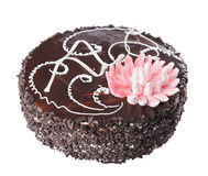 Chocolate cake with decorative lotus flower Stock Photography