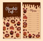 Chocolate cake and dessert menu template design Stock Images
