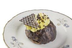 Chocolate cake. On a dessert plate Royalty Free Stock Photos