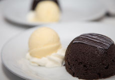 Chocolate Cake Dessert with Vanilla Ice Cream Stock Image
