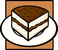 Chocolate cake in dish. Illustration of a chocolate cake slice in a dish Stock Photo