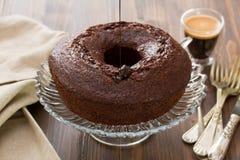 Chocolate cake on dish Royalty Free Stock Images