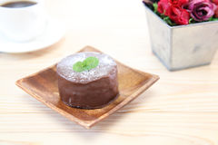 Chocolate cake on a dish Royalty Free Stock Image