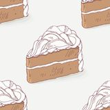 Chocolate cake doodle seamless pattern Royalty Free Stock Image
