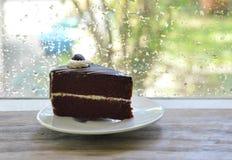 Chocolate cake enjoy for rainy day Stock Images